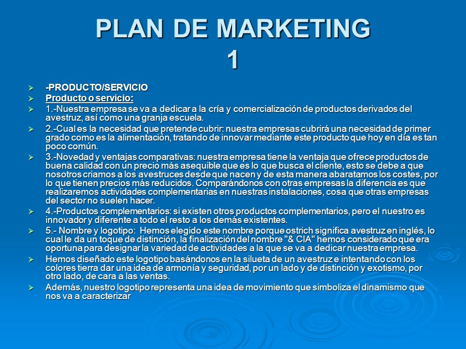 PLAN DE MARKETING 1 -PRODUCTO/SERVICIO Producto o servicio: