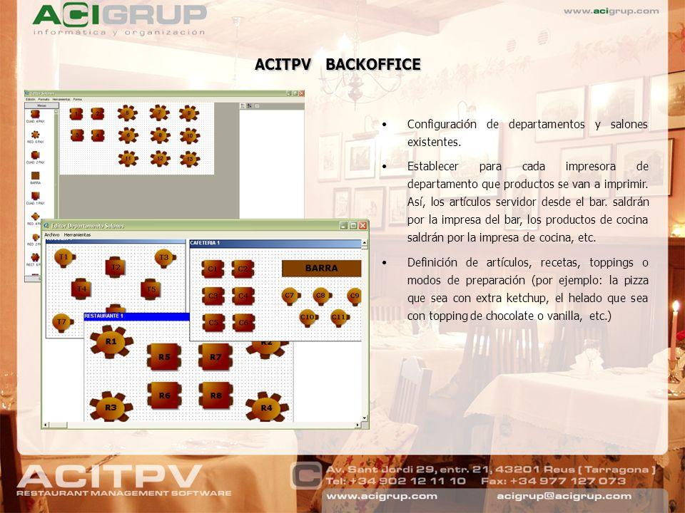 ACITPV BACKOFFICE Configuración de departamentos y salones existentes.