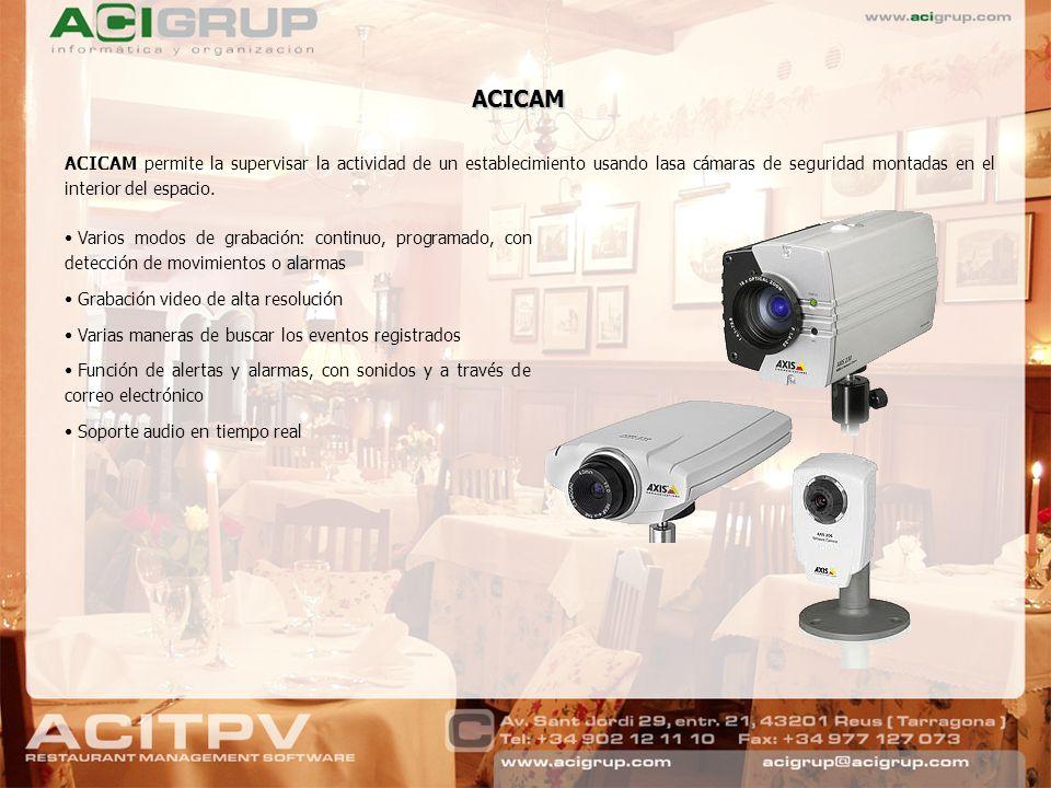 ACICAM ACICAM permite la supervisar la actividad de un establecimiento usando lasa cámaras de seguridad montadas en el interior del espacio.