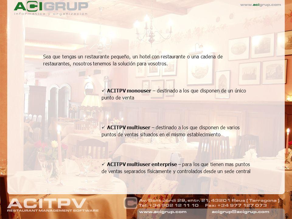 Sea que tengas un restaurante pequeño, un hotel con restaurante o una cadena de restaurantes, nosotros tenemos la solución para vosotros.