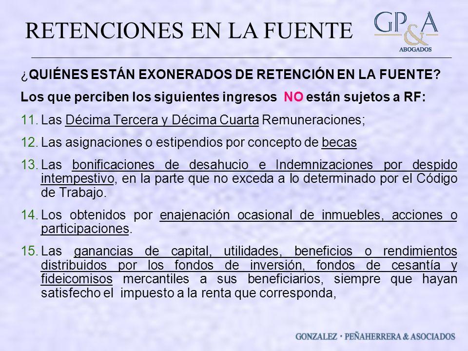 ¿QUIÉNES ESTÁN EXONERADOS DE RETENCIÓN EN LA FUENTE