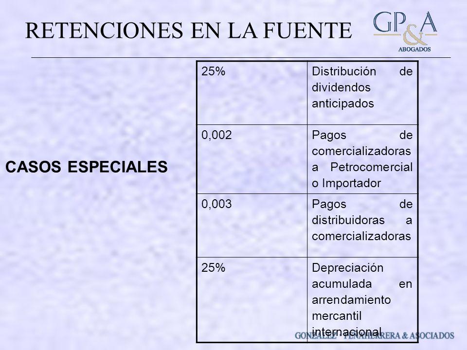 CASOS ESPECIALES 25% Distribución de dividendos anticipados 0,002