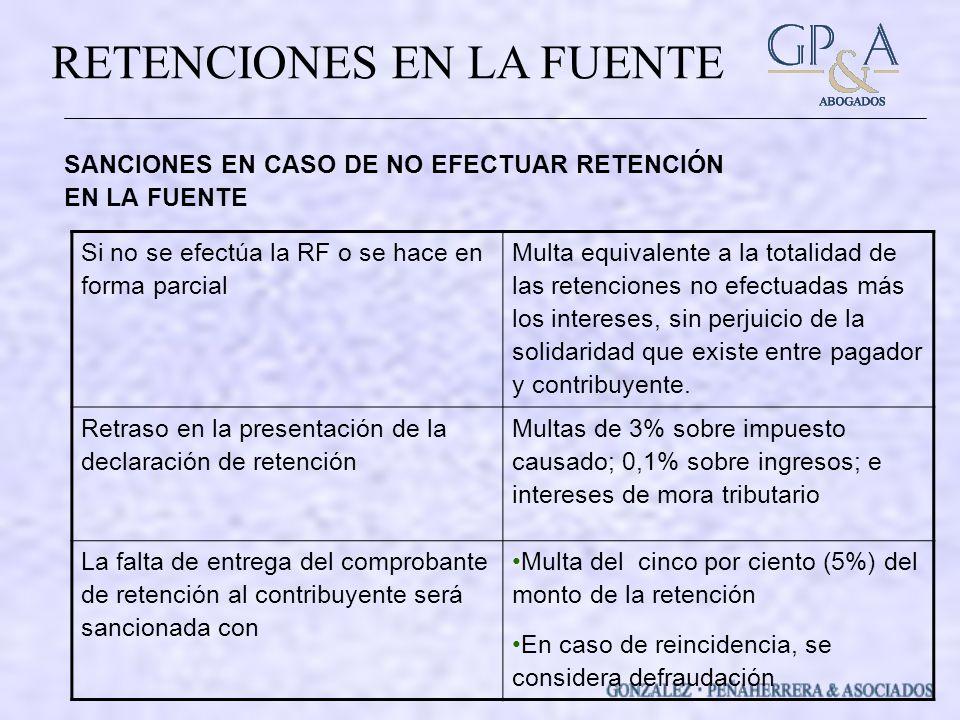 SANCIONES EN CASO DE NO EFECTUAR RETENCIÓN EN LA FUENTE