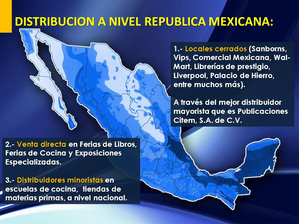 DISTRIBUCION A NIVEL REPUBLICA MEXICANA:
