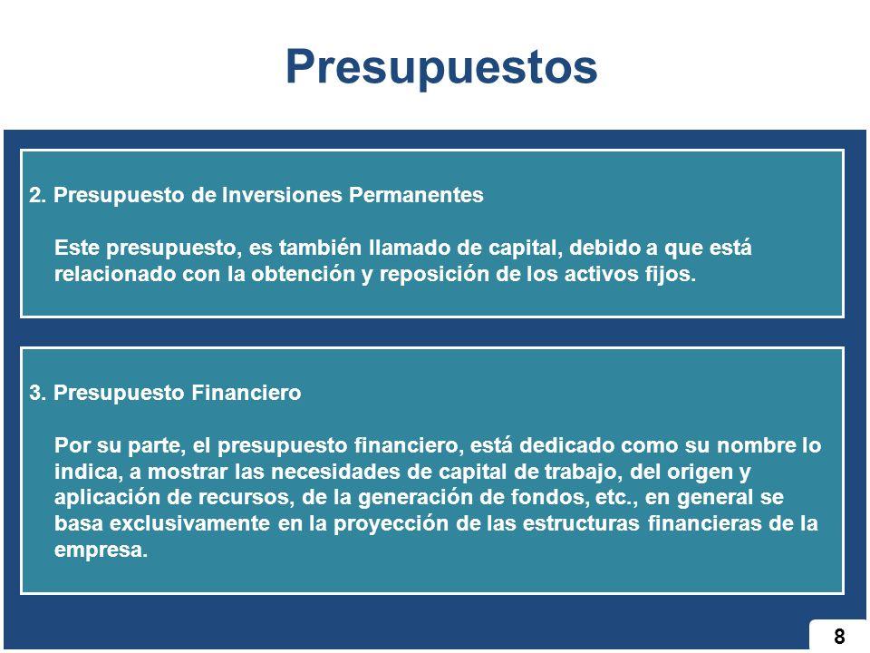 Presupuestos 2. Presupuesto de Inversiones Permanentes