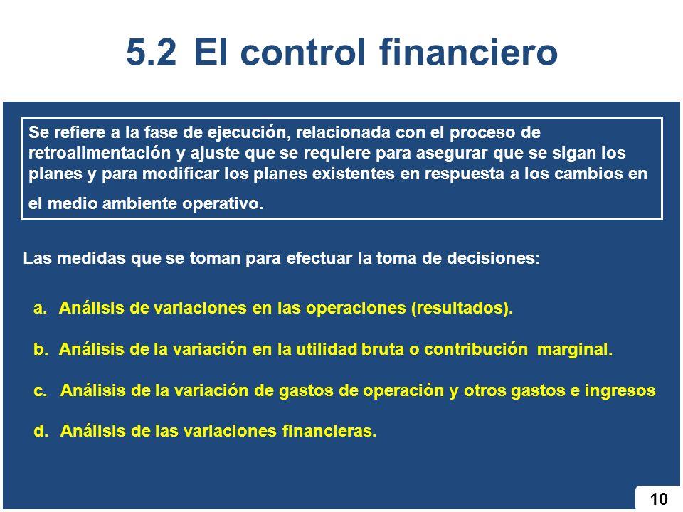 5.2 El control financiero