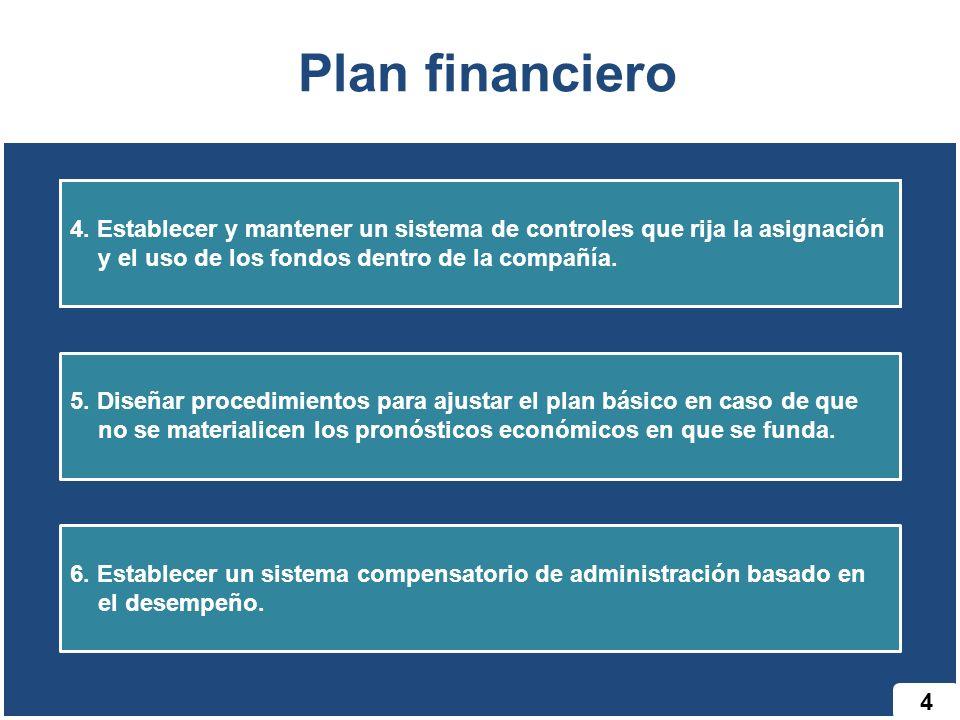 Plan financiero 4. Establecer y mantener un sistema de controles que rija la asignación y el uso de los fondos dentro de la compañía.