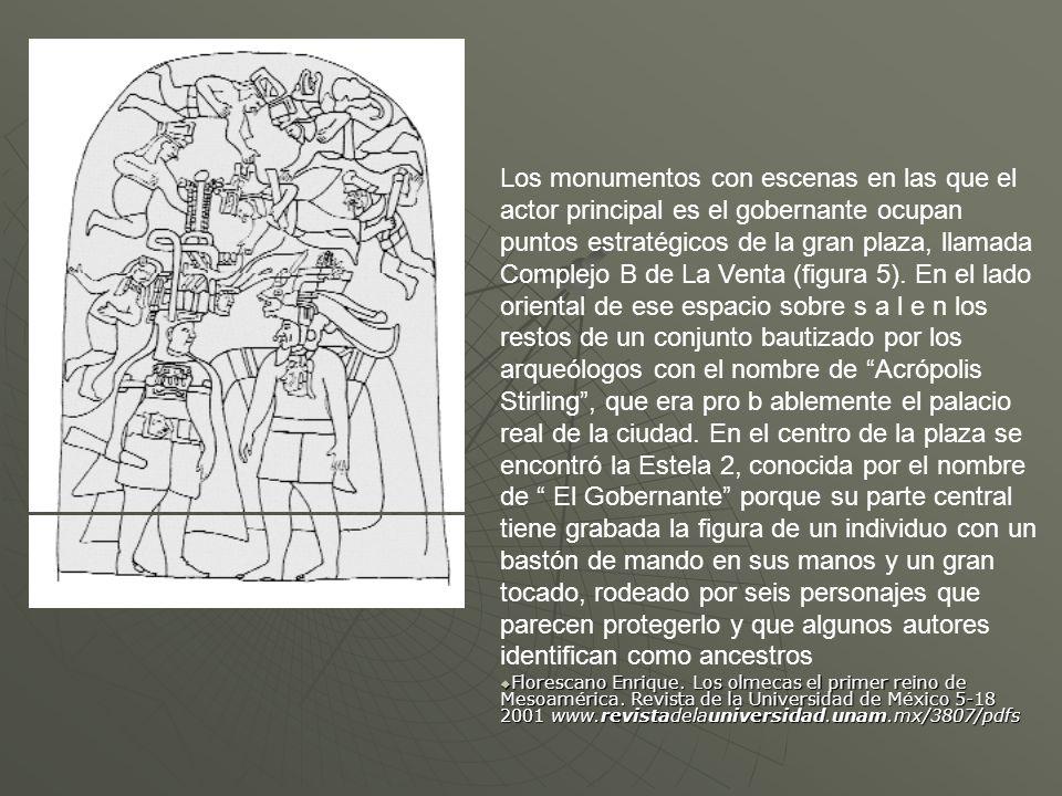 Los monumentos con escenas en las que el actor principal es el gobernante ocupan puntos estratégicos de la gran plaza, llamada Complejo B de La Venta (figura 5). En el lado oriental de ese espacio sobre s a l e n los restos de un conjunto bautizado por los arqueólogos con el nombre de Acrópolis Stirling , que era pro b ablemente el palacio real de la ciudad. En el centro de la plaza se encontró la Estela 2, conocida por el nombre de El Gobernante porque su parte central tiene grabada la figura de un individuo con un bastón de mando en sus manos y un gran tocado, rodeado por seis personajes que parecen protegerlo y que algunos autores identifican como ancestros