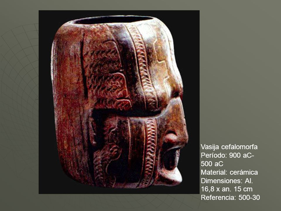 Vasija cefalomorfa Período: 900 aC-500 aC. Material: cerámica. Dimensiones: Al. 16,8 x an. 15 cm.