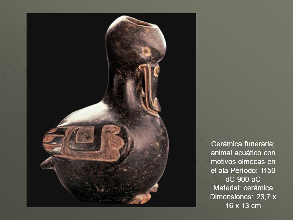 Cerámica funeraria; animal acuático con motivos olmecas en el ala Período: 1150 dC-900 aC