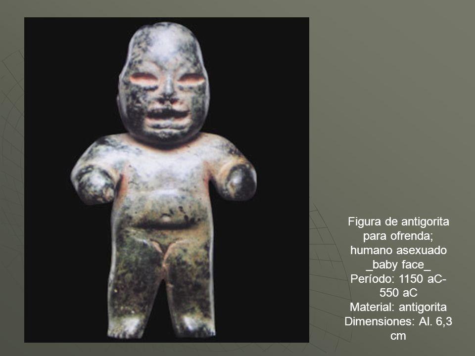 Figura de antigorita para ofrenda; humano asexuado _baby face_ Período: 1150 aC-550 aC