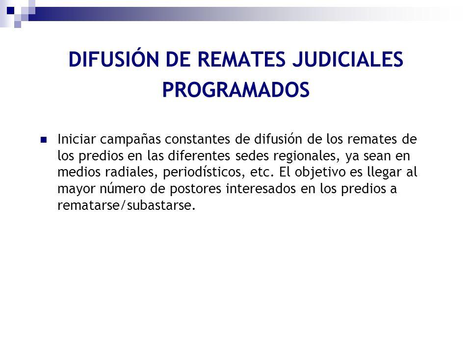 DIFUSIÓN DE REMATES JUDICIALES PROGRAMADOS