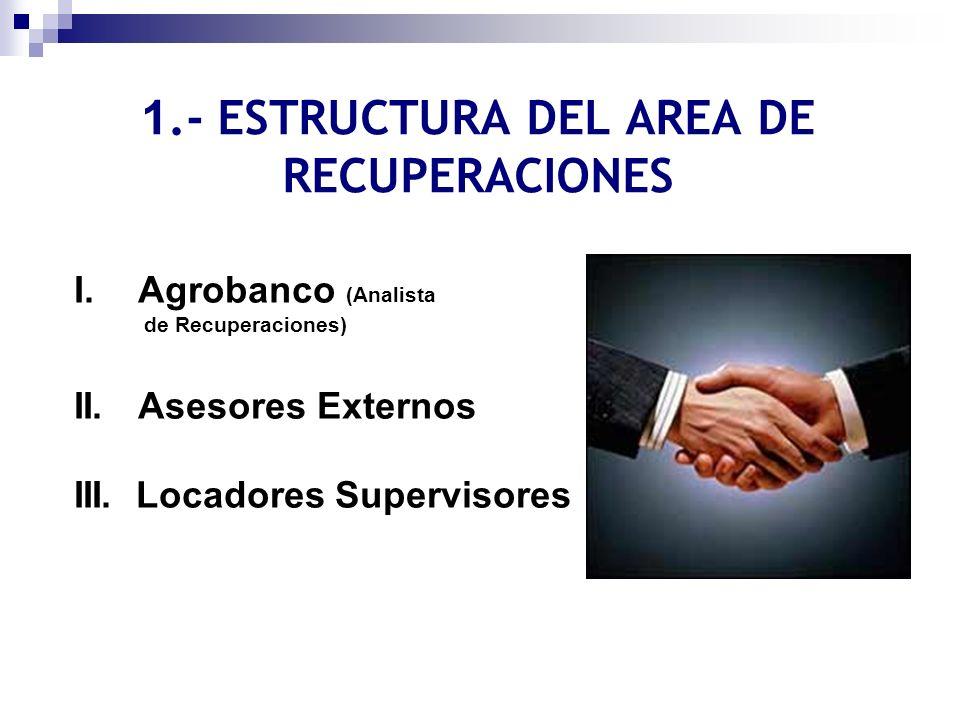 1.- ESTRUCTURA DEL AREA DE RECUPERACIONES