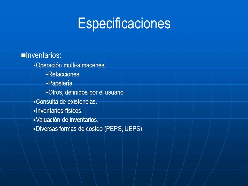 Especificaciones Inventarios: Operación multi-almacenes: Refacciones