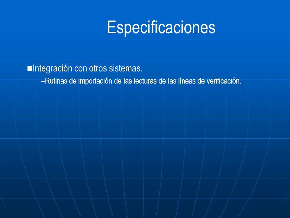 Especificaciones Integración con otros sistemas.