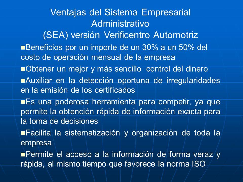 Ventajas del Sistema Empresarial Administrativo (SEA) versión Verificentro Automotriz