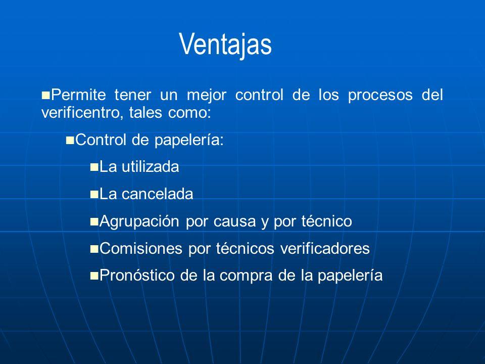 Ventajas Permite tener un mejor control de los procesos del verificentro, tales como: Control de papelería: