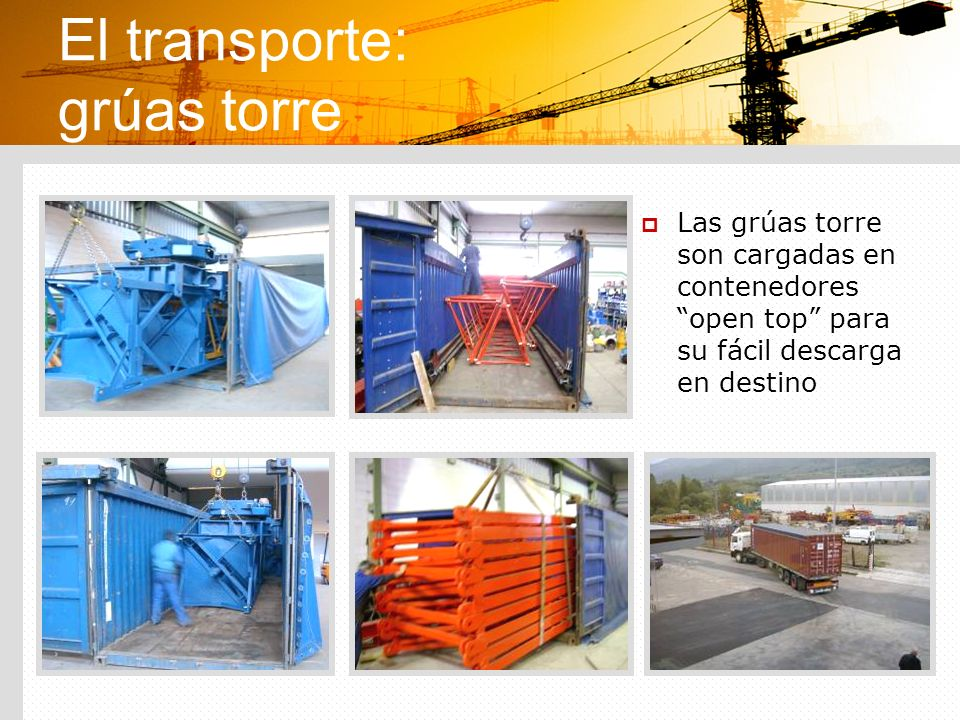 El transporte: grúas torre