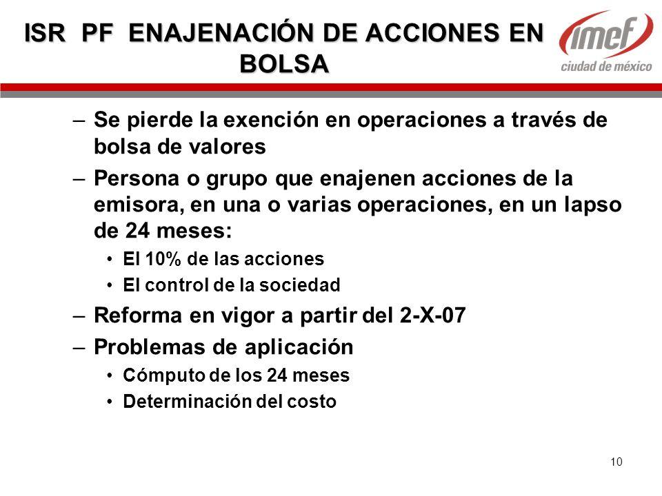 ISR PF ENAJENACIÓN DE ACCIONES EN BOLSA
