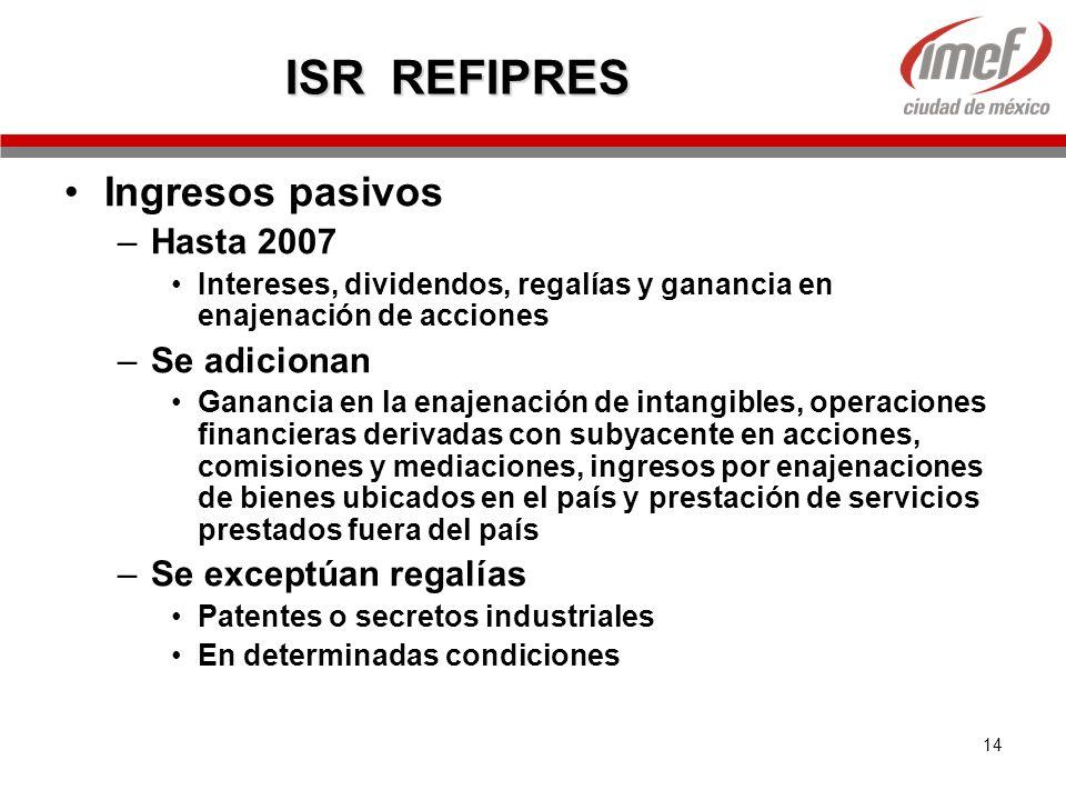 ISR REFIPRES Ingresos pasivos Hasta 2007 Se adicionan