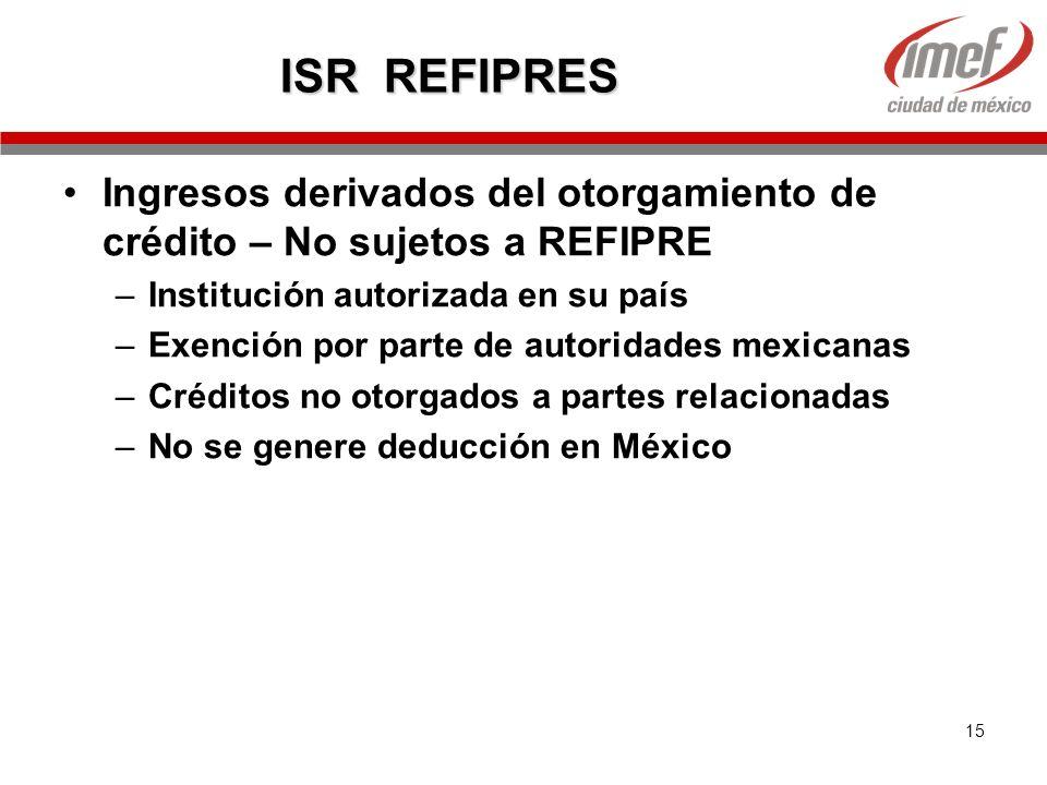 ISR REFIPRES Ingresos derivados del otorgamiento de crédito – No sujetos a REFIPRE. Institución autorizada en su país.