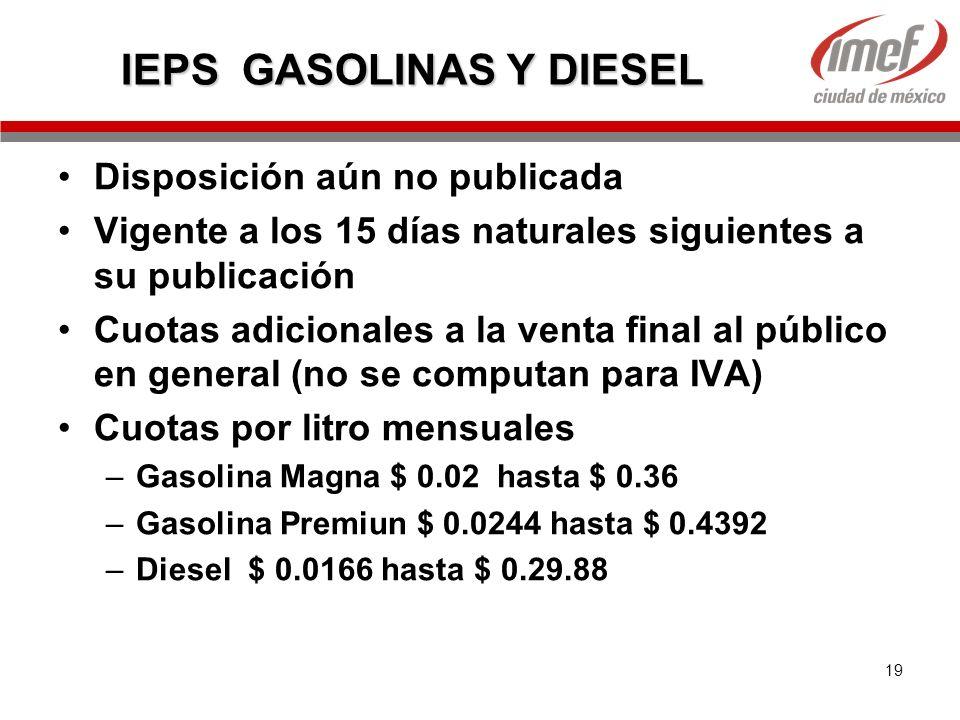 IEPS GASOLINAS Y DIESEL