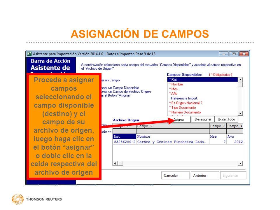 ASIGNACIÓN DE CAMPOS