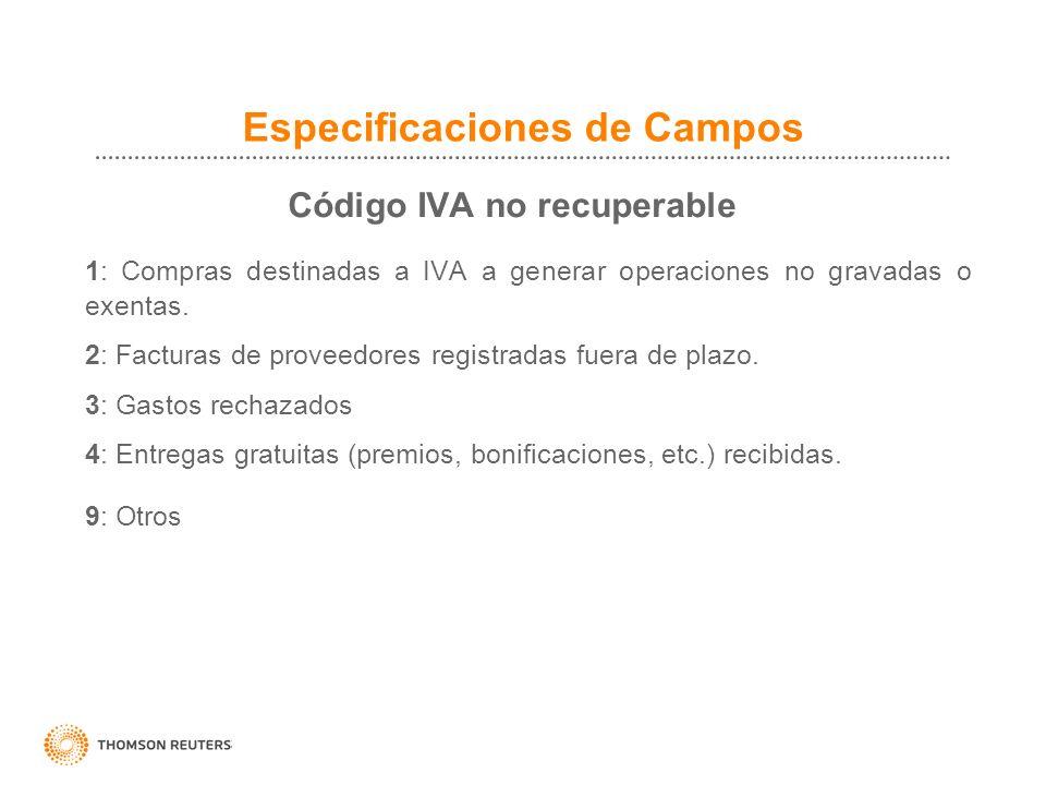 Especificaciones de Campos