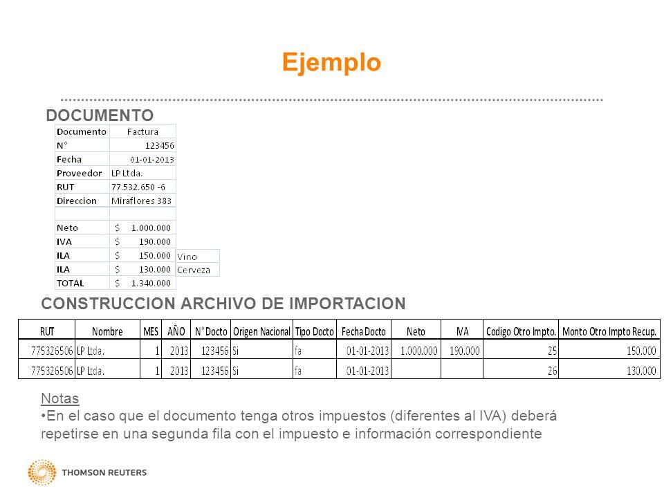 Ejemplo DOCUMENTO CONSTRUCCION ARCHIVO DE IMPORTACION Notas