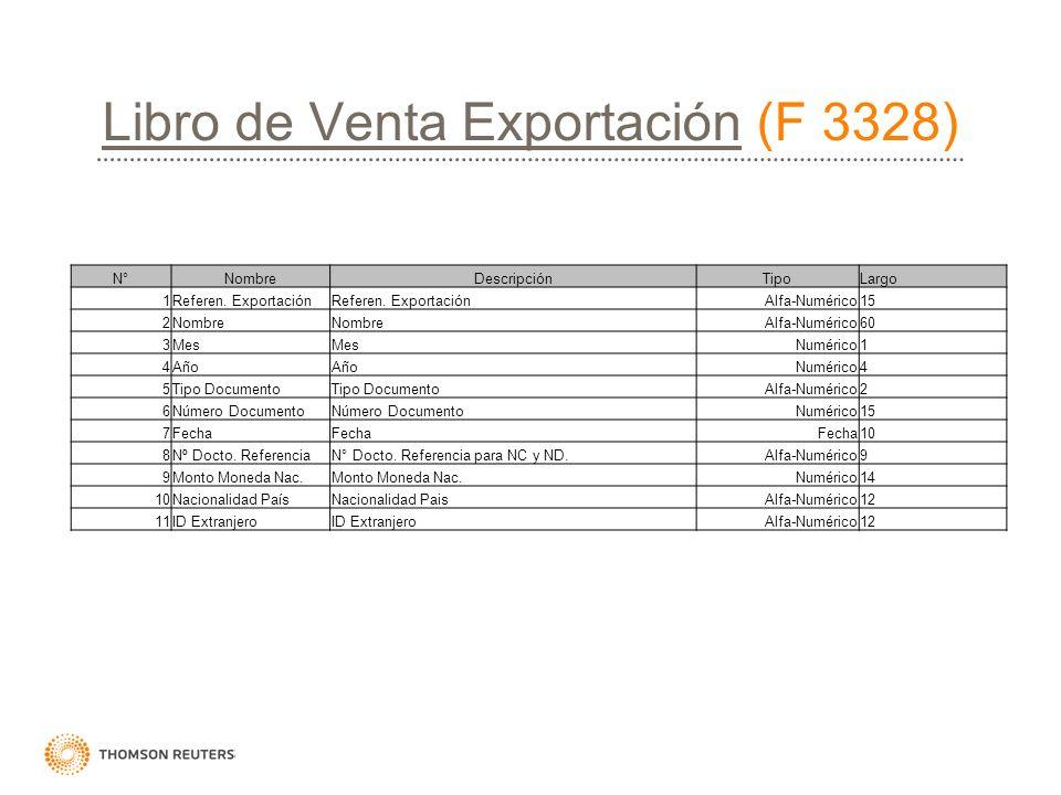 Libro de Venta Exportación (F 3328)