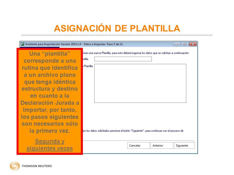 ASIGNACIÓN DE PLANTILLA