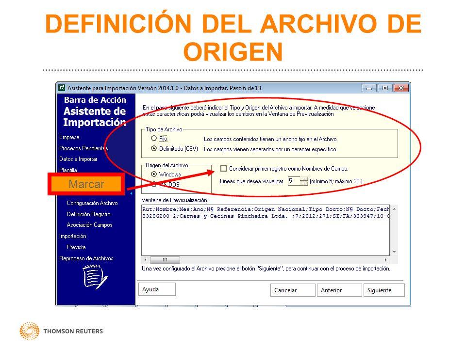 DEFINICIÓN DEL ARCHIVO DE ORIGEN