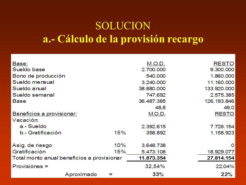 SOLUCION a.- Cálculo de la provisión recargo