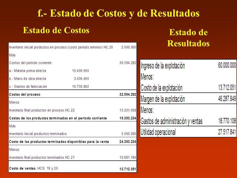f.- Estado de Costos y de Resultados