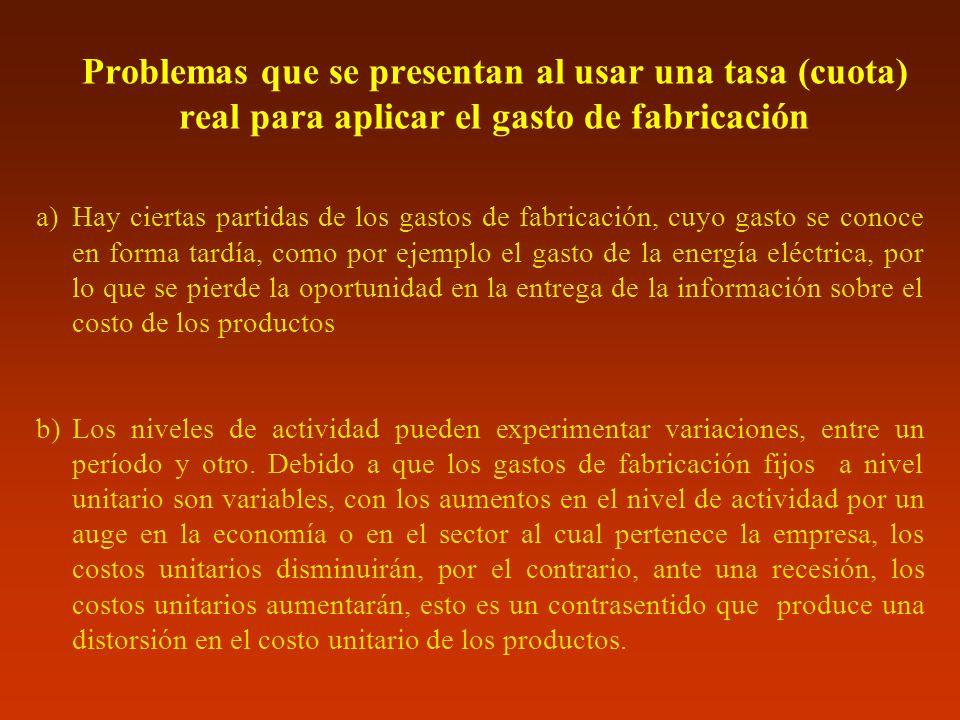 Problemas que se presentan al usar una tasa (cuota) real para aplicar el gasto de fabricación