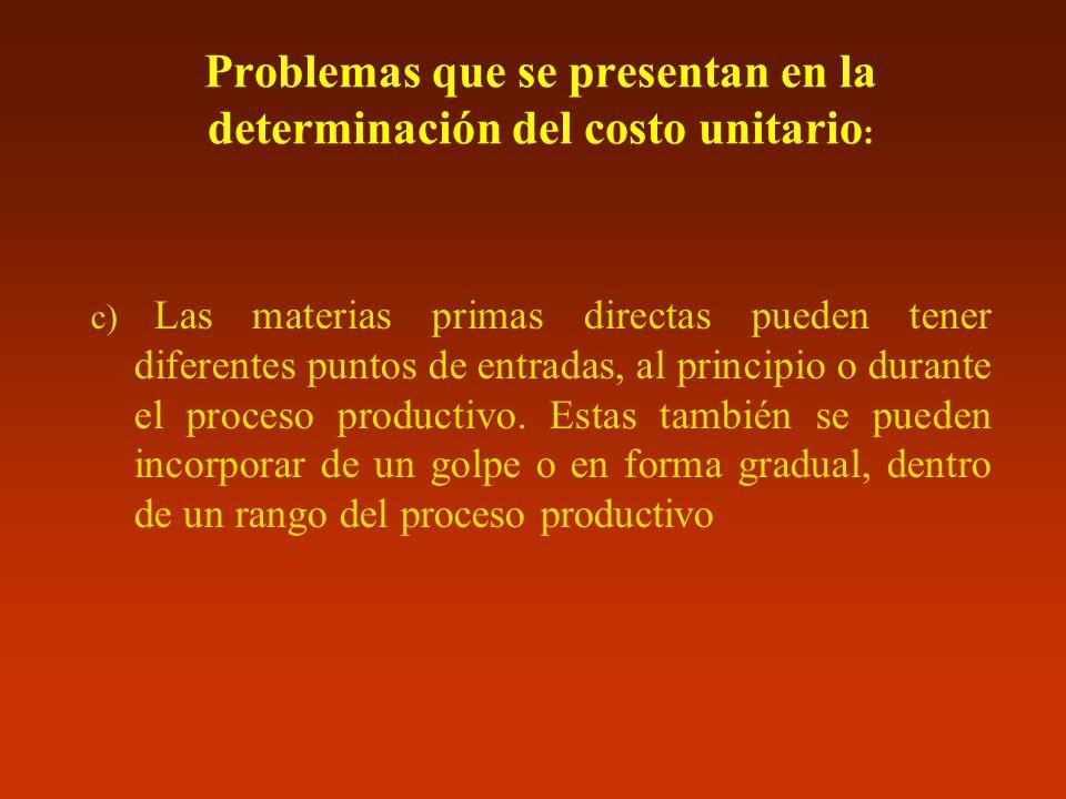 Problemas que se presentan en la determinación del costo unitario: