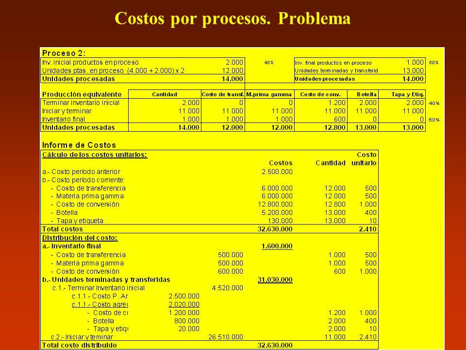 Costos por procesos. Problema