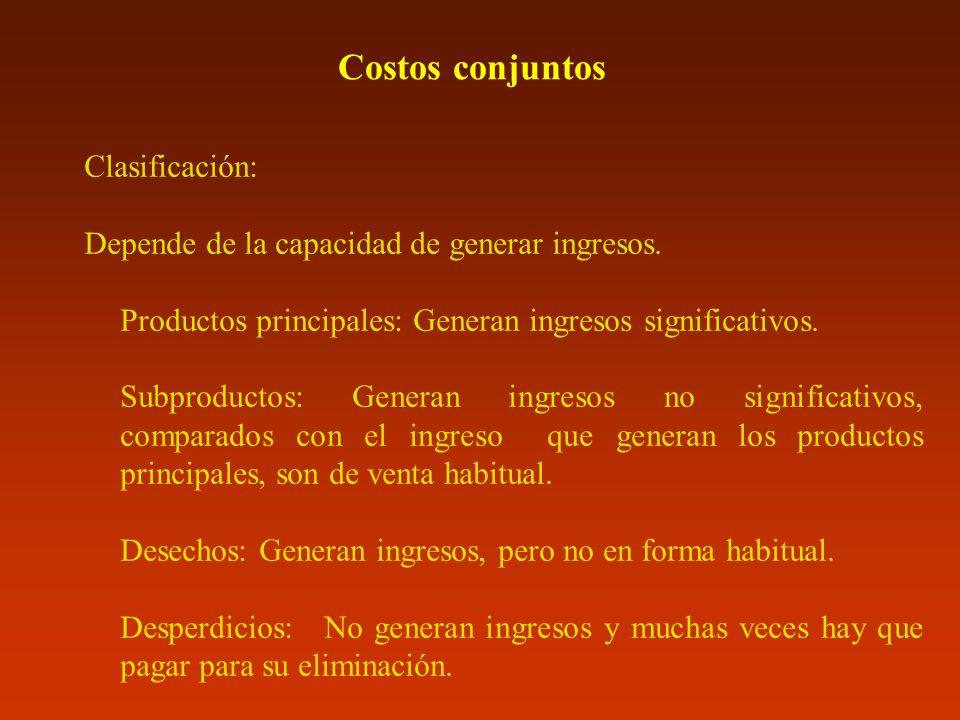Costos conjuntos Clasificación: