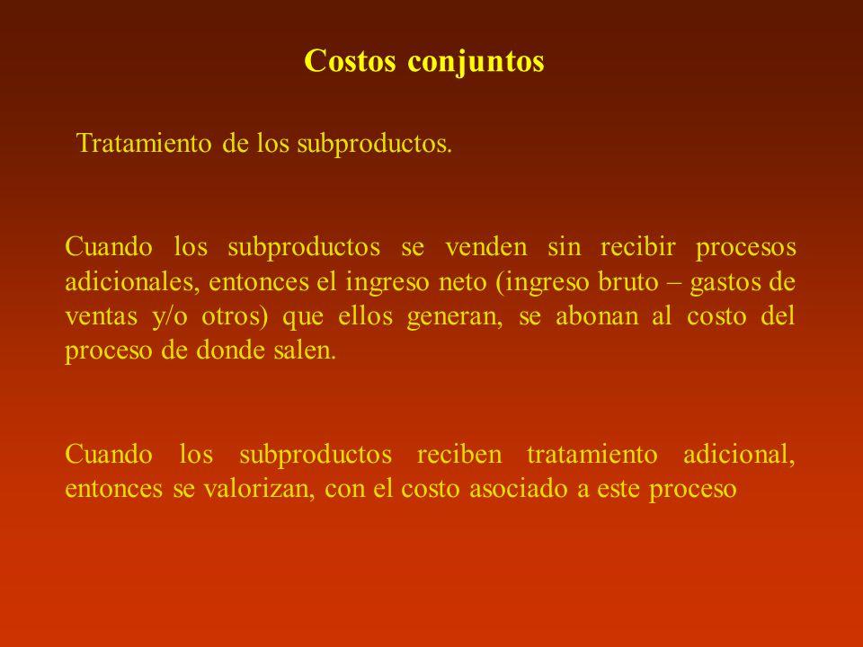 Costos conjuntos Tratamiento de los subproductos.