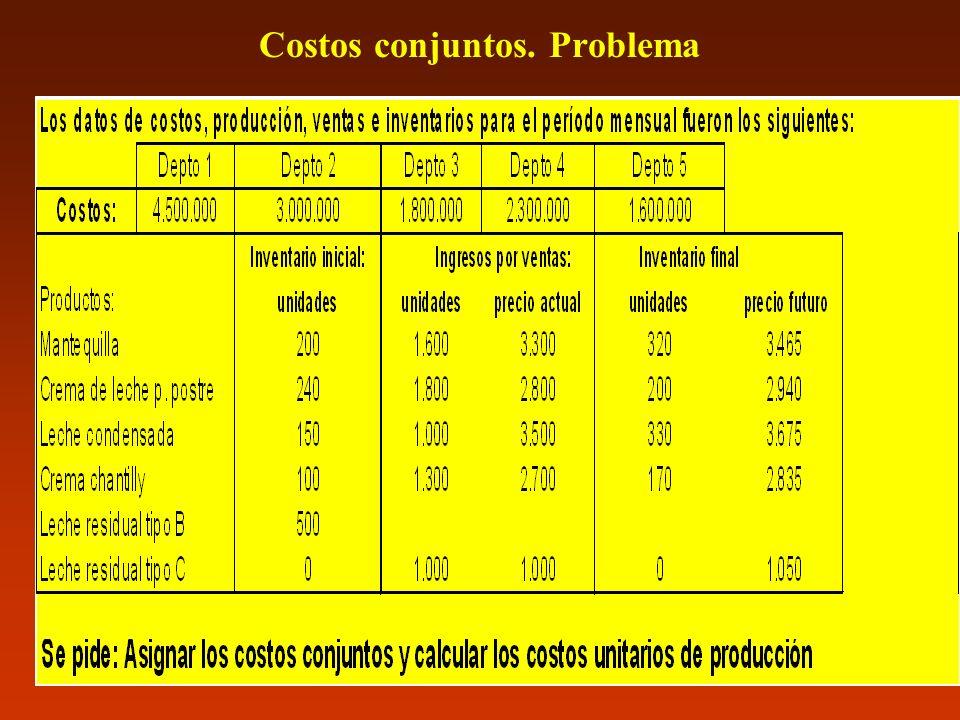 Costos conjuntos. Problema