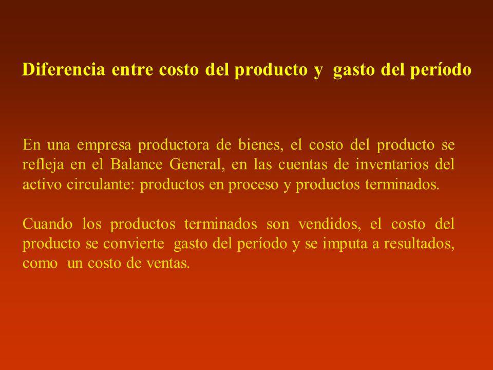 Diferencia entre costo del producto y gasto del período