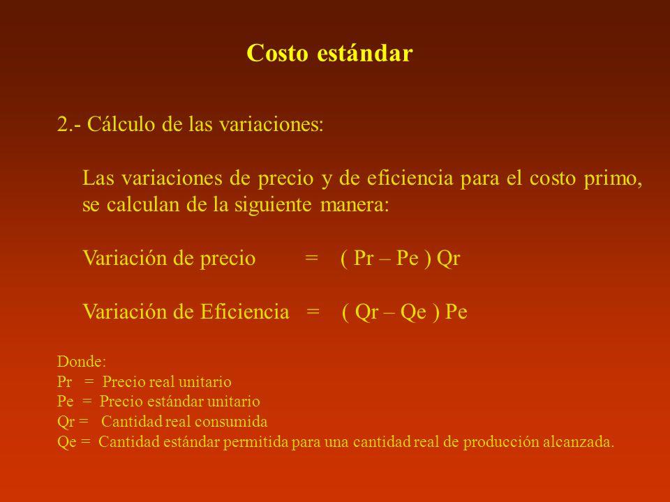 Costo estándar 2.- Cálculo de las variaciones: