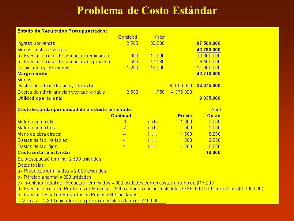 Problema de Costo Estándar