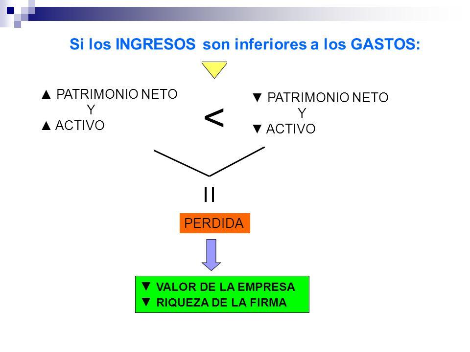 < Si los INGRESOS son inferiores a los GASTOS: ▲ PATRIMONIO NETO