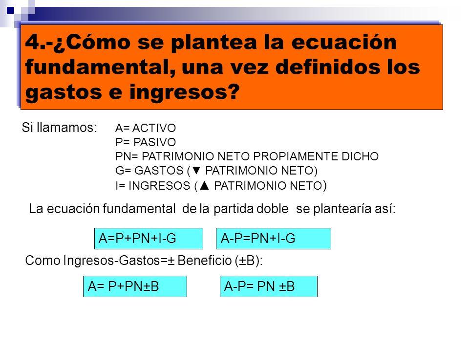 4.-¿Cómo se plantea la ecuación fundamental, una vez definidos los gastos e ingresos