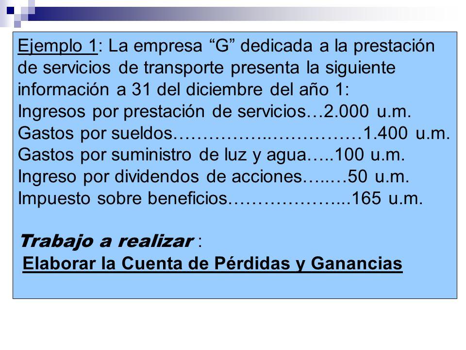 Ejemplo 1: La empresa G dedicada a la prestación de servicios de transporte presenta la siguiente información a 31 del diciembre del año 1: