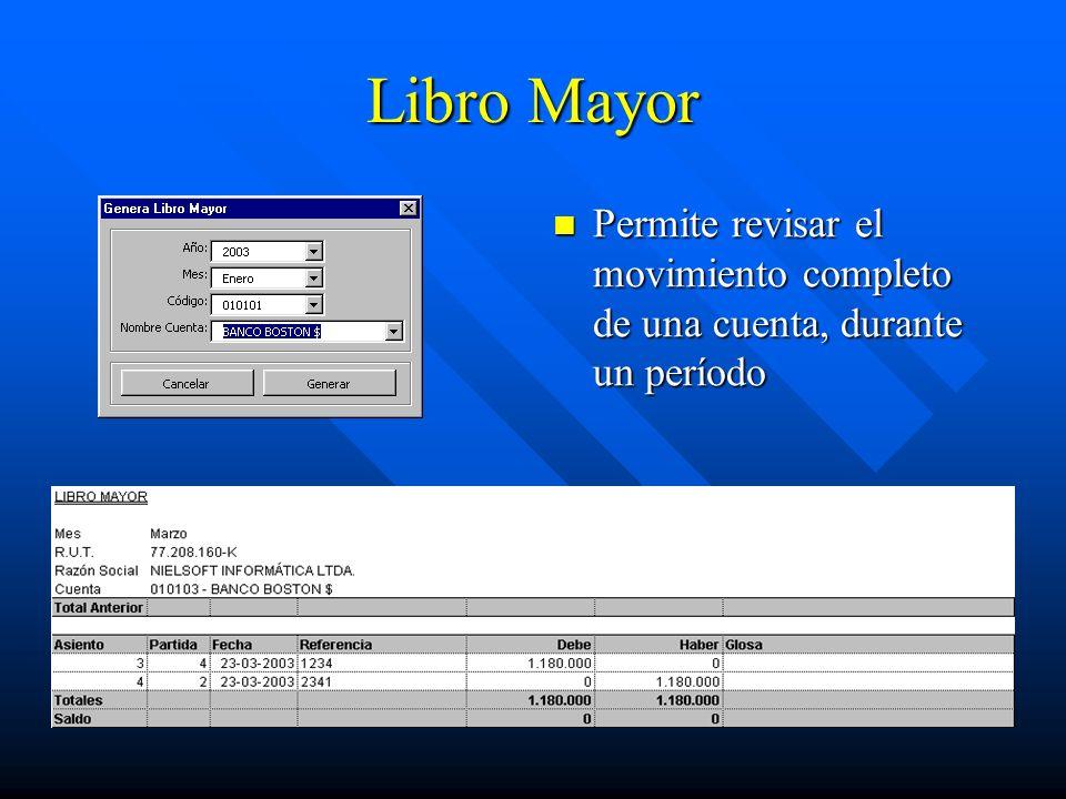 Libro Mayor Permite revisar el movimiento completo de una cuenta, durante un período