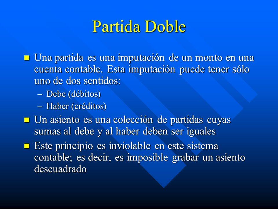 Partida Doble Una partida es una imputación de un monto en una cuenta contable. Esta imputación puede tener sólo uno de dos sentidos:
