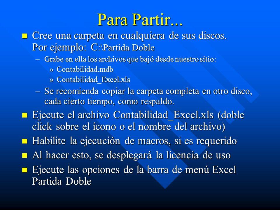 Para Partir... Cree una carpeta en cualquiera de sus discos. Por ejemplo: C:\Partida Doble.