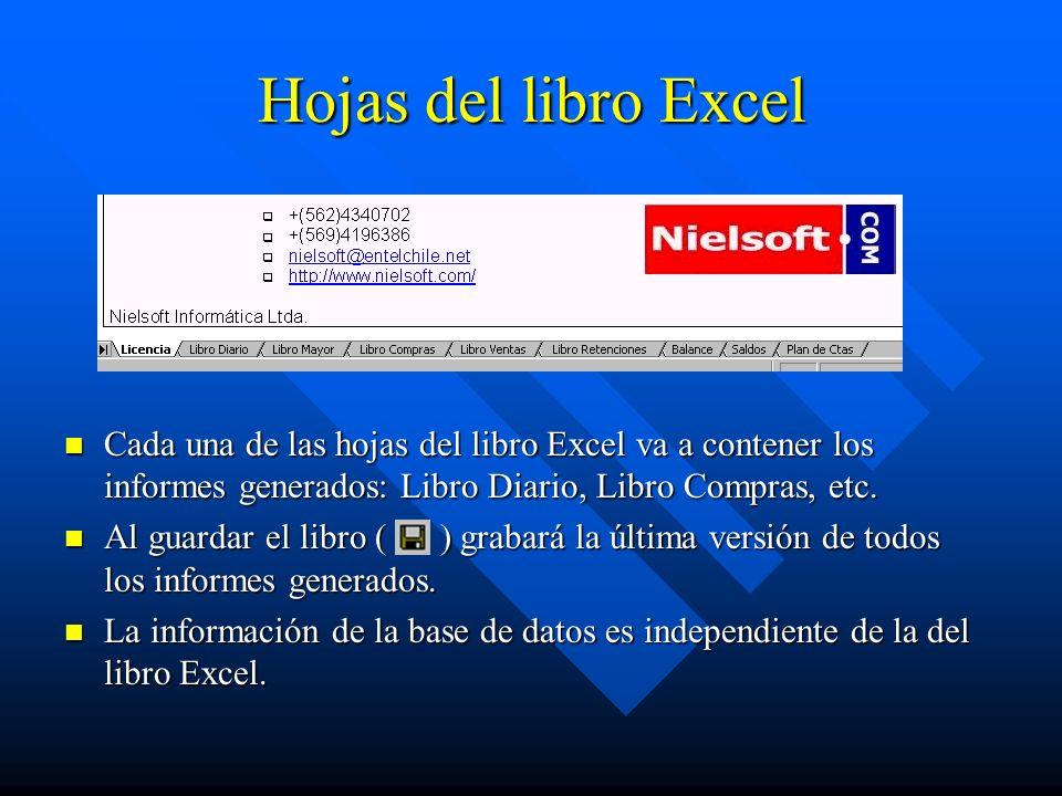 Hojas del libro Excel Cada una de las hojas del libro Excel va a contener los informes generados: Libro Diario, Libro Compras, etc.